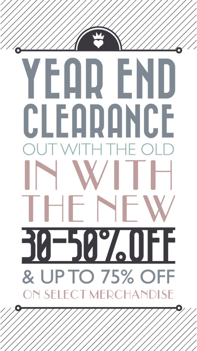 End of the Year Clearance SALE!